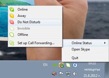 Change Skype Online Status