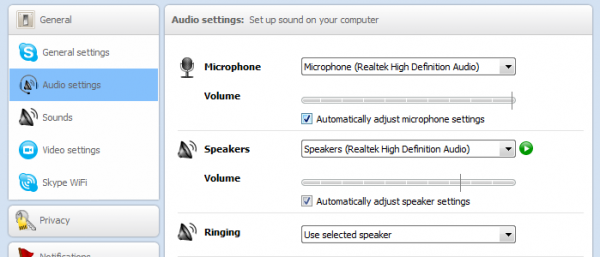 Audio Settings in Skype