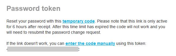 Содержание письма с заголовком Password token