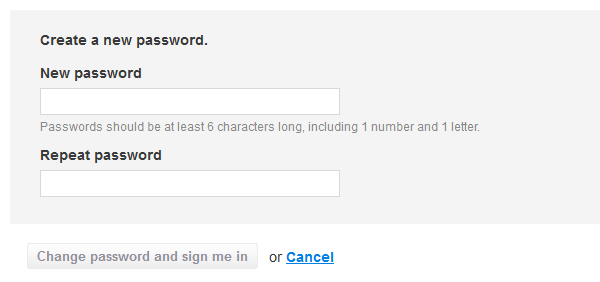 New password form (after you click the link)