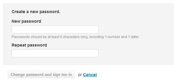 Форма для заявки новой пароли (после того, как нажмете на ссылку)