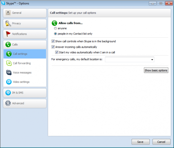 Home video surveillance settings in Skype
