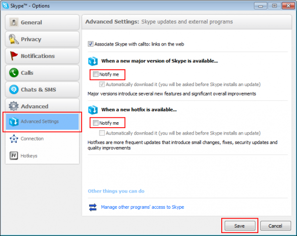 Disable automatic updates in Skype 3.8