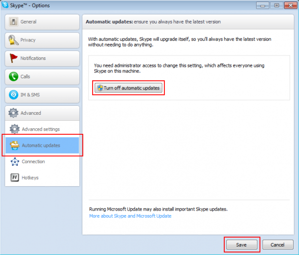 Stop updates in Skype 5.9 and 5.10