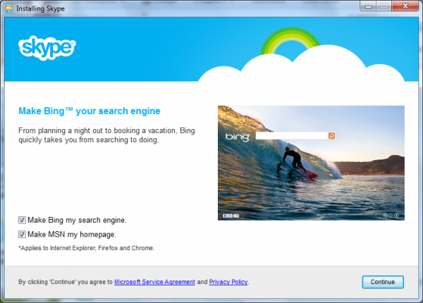 Skype 6 suggests we start using Bing.com and MSN.com