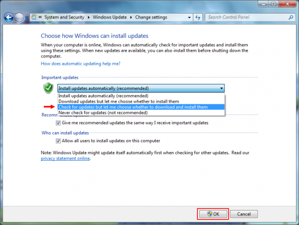 Choosing the way Windows 7 installs updates