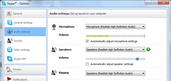 Audio settings