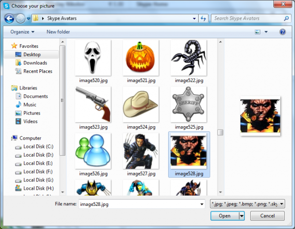 Changing Skype profile picture in Windows 7
