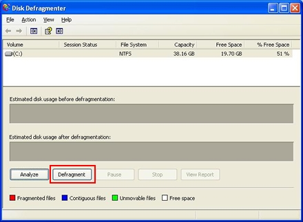 Defragmentation in Windows XP