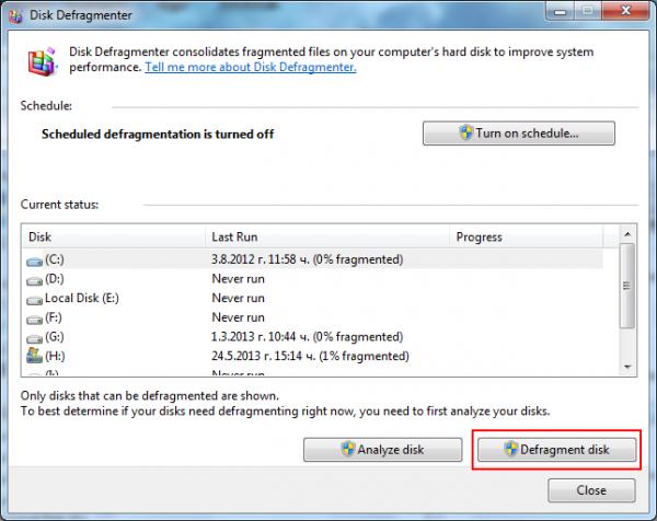 Defragmenting in Windows 7