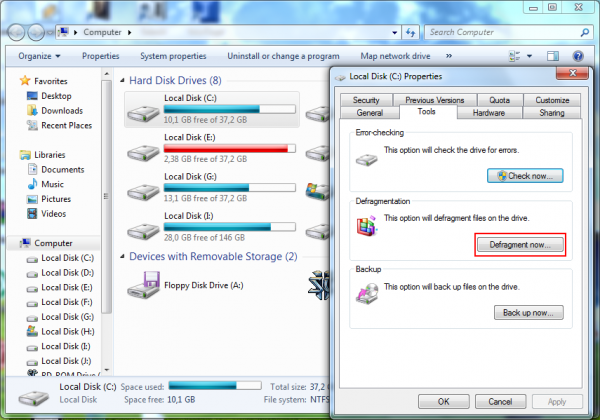 Partition tools in Windows 7