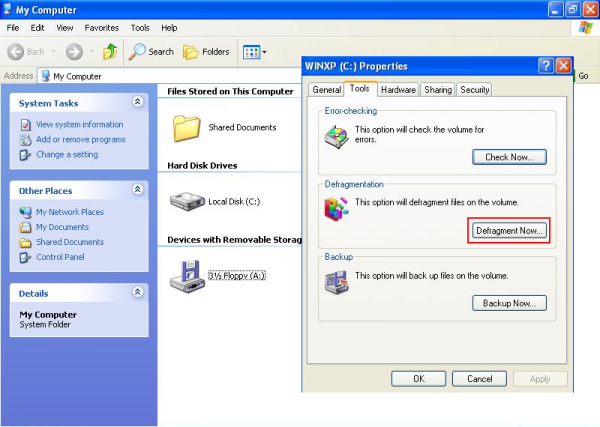 Drive partition tools in Windows XP
