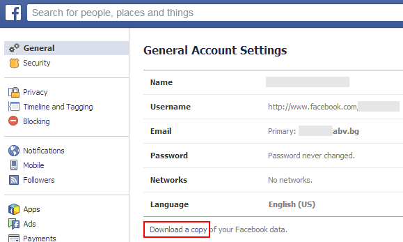 Downloading your Facebook account data