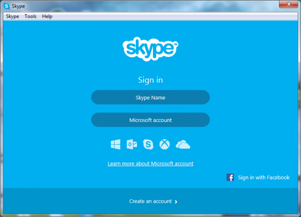 New sign-in screen in Skype 6.10 for Windows desktop